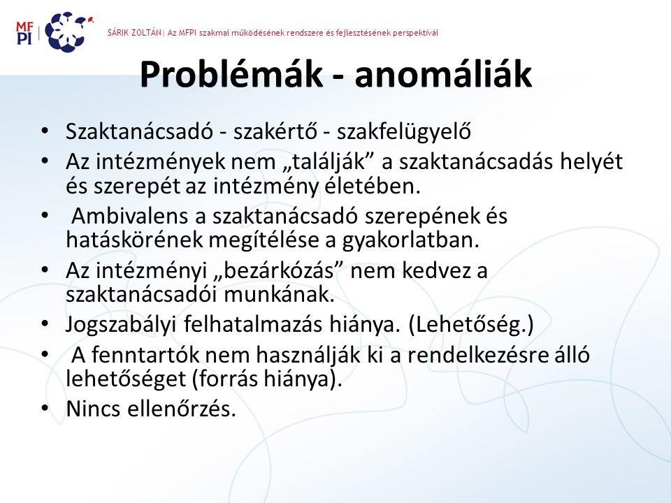 Problémák - anomáliák Szaktanácsadó - szakértő - szakfelügyelő