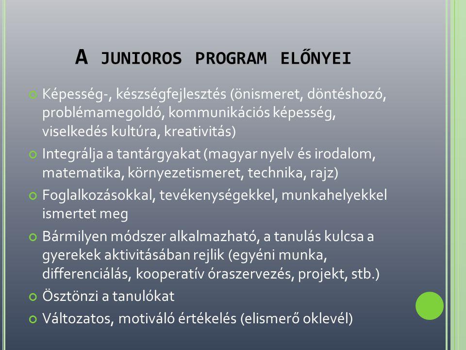 A junioros program előnyei