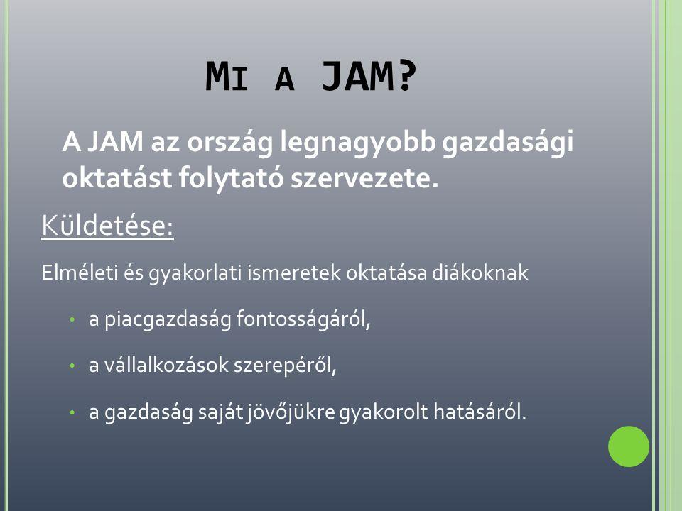 Mi a JAM A JAM az ország legnagyobb gazdasági oktatást folytató szervezete. Küldetése: Elméleti és gyakorlati ismeretek oktatása diákoknak.