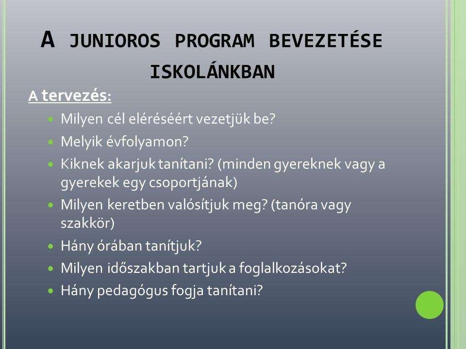 A junioros program bevezetése iskolánkban