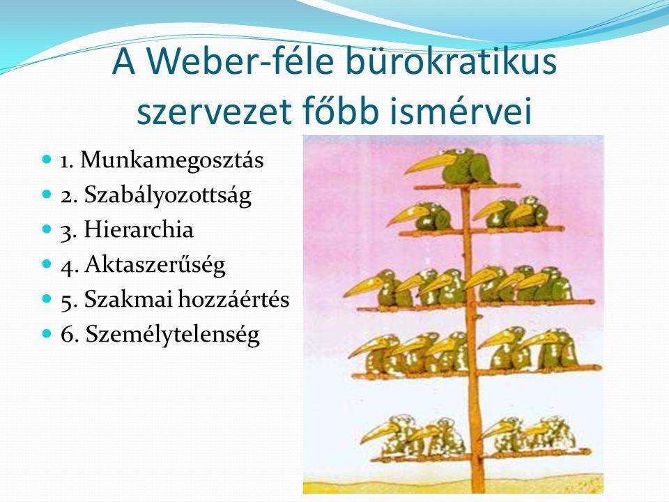 A Weber-féle bürokratikus szervezet főbb ismérvei