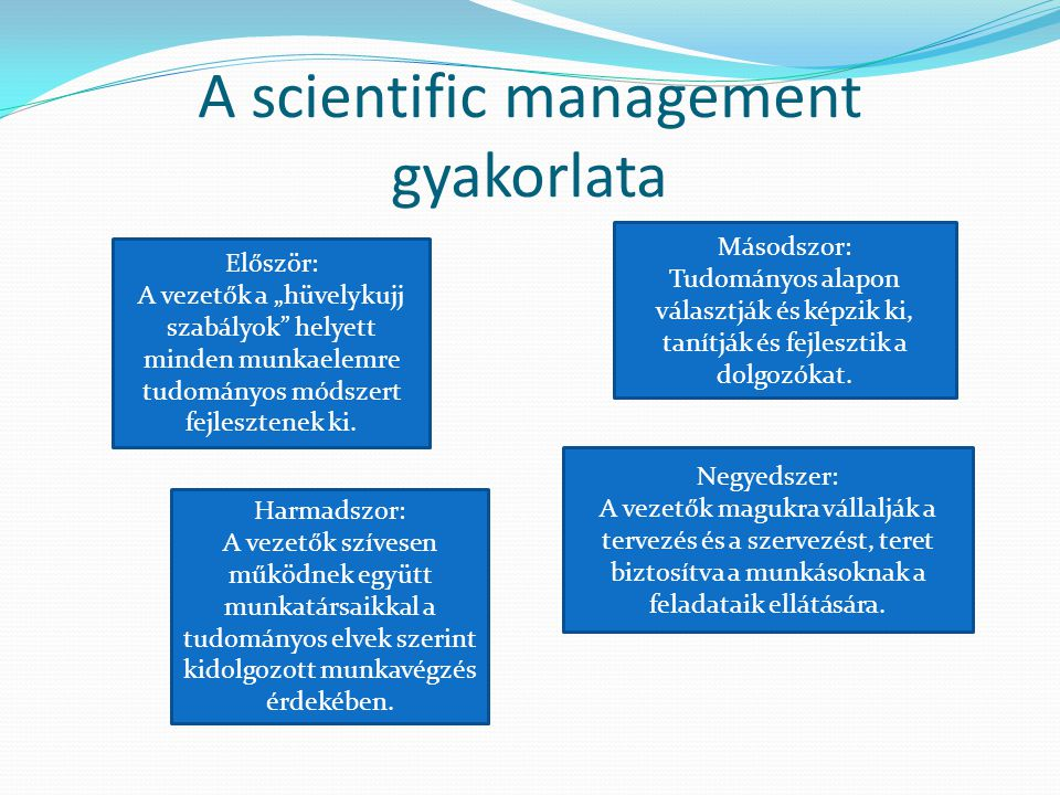 A scientific management gyakorlata