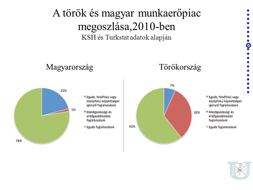 A török és magyar munkaerőpiac megoszlása,2010-ben KSH és Turkstat adatok alapján