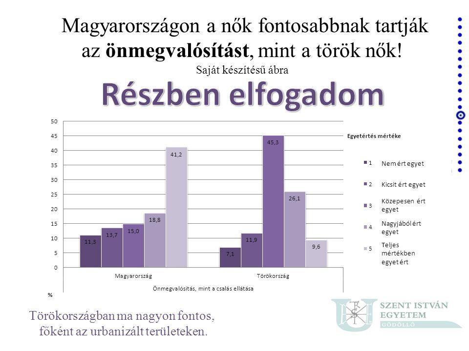 Magyarországon a nők fontosabbnak tartják az önmegvalósítást, mint a török nők! Saját készítésű ábra