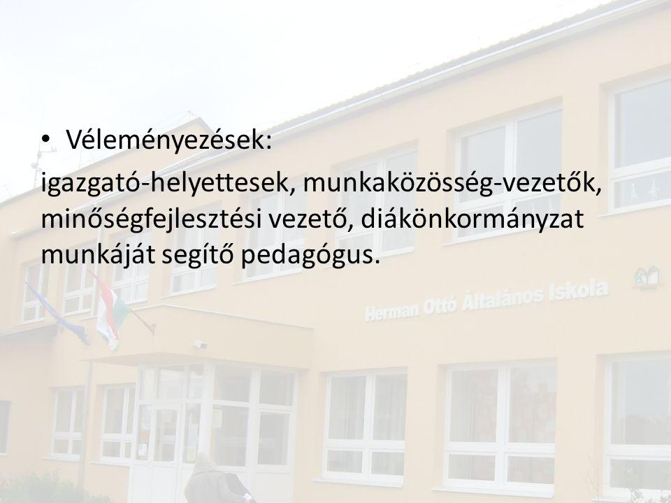 Véleményezések: igazgató-helyettesek, munkaközösség-vezetők, minőségfejlesztési vezető, diákönkormányzat munkáját segítő pedagógus.