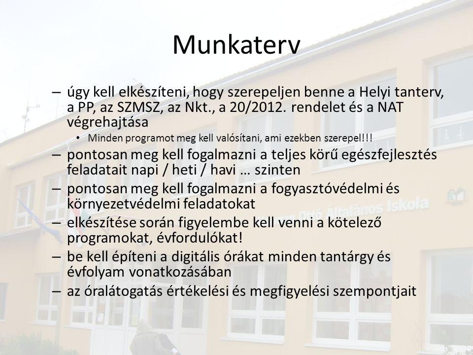 Munkaterv úgy kell elkészíteni, hogy szerepeljen benne a Helyi tanterv, a PP, az SZMSZ, az Nkt., a 20/2012. rendelet és a NAT végrehajtása.