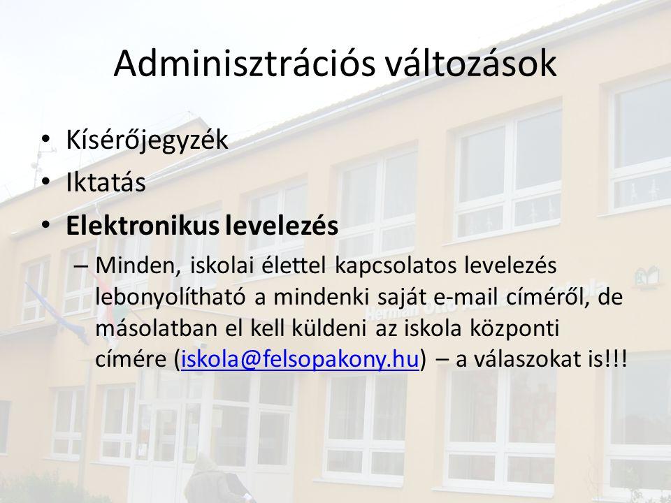 Adminisztrációs változások