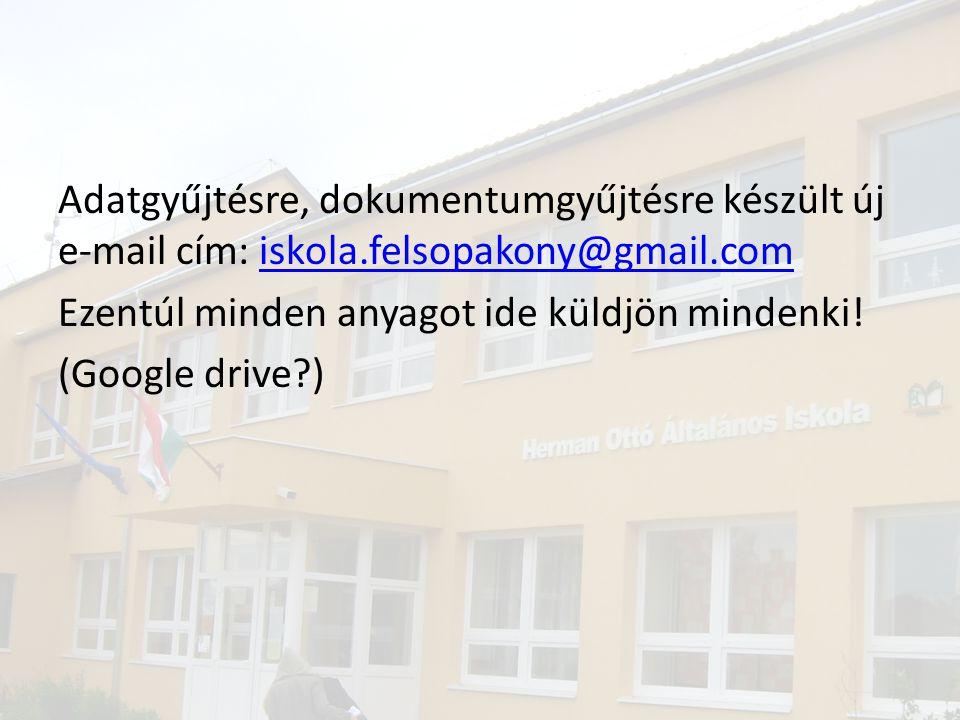 Adatgyűjtésre, dokumentumgyűjtésre készült új e-mail cím: iskola