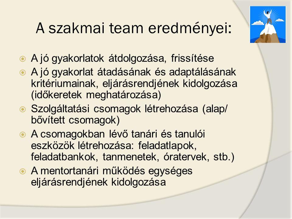 A szakmai team eredményei:
