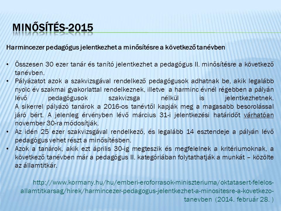 MINŐSÍTÉS-2015 Harmincezer pedagógus jelentkezhet a minősítésre a következő tanévben.