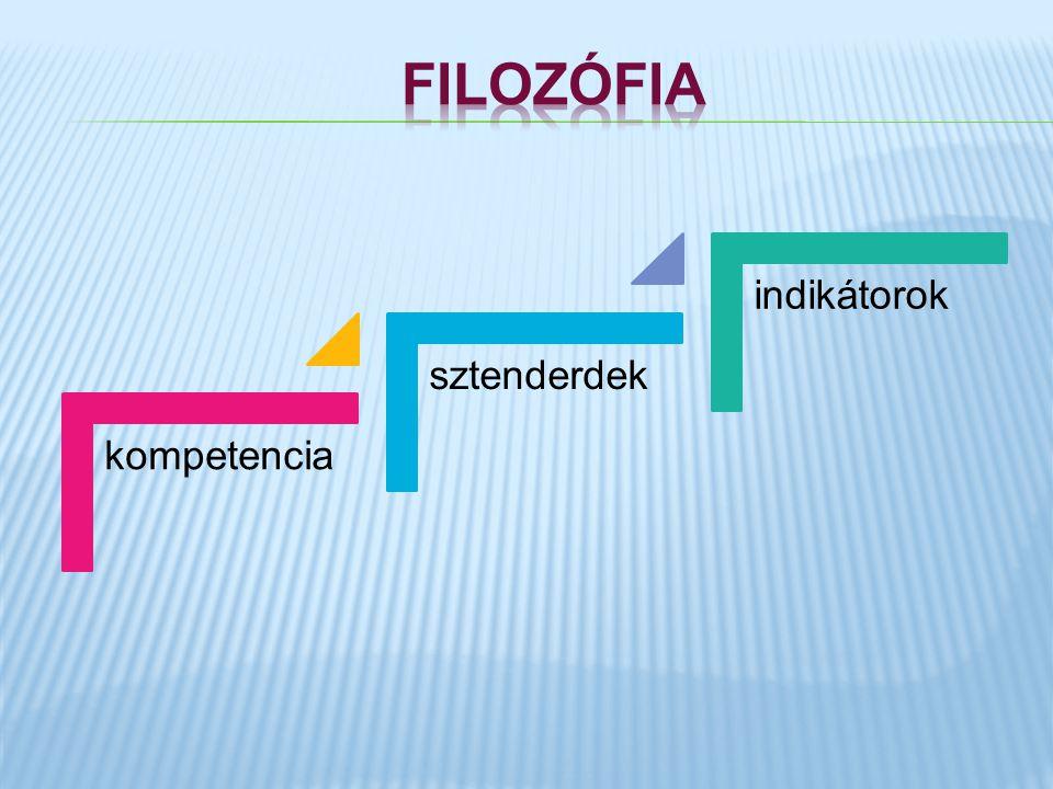filozófia kompetencia sztenderdek indikátorok