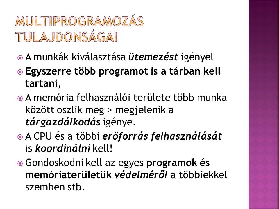 Multiprogramozás tulajdonságai