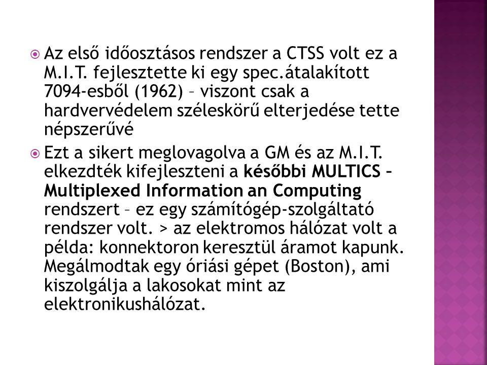 Az első időosztásos rendszer a CTSS volt ez a M. I. T