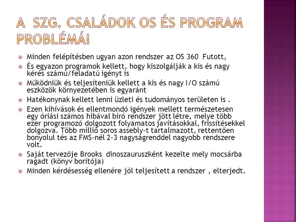 A szg. Családok OS és program problémái