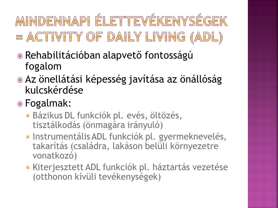 Mindennapi élettevékenységek = activity of daily living (ADL)