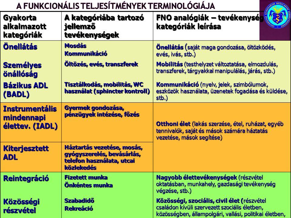 A funkcionális teljesítmények terminológiája
