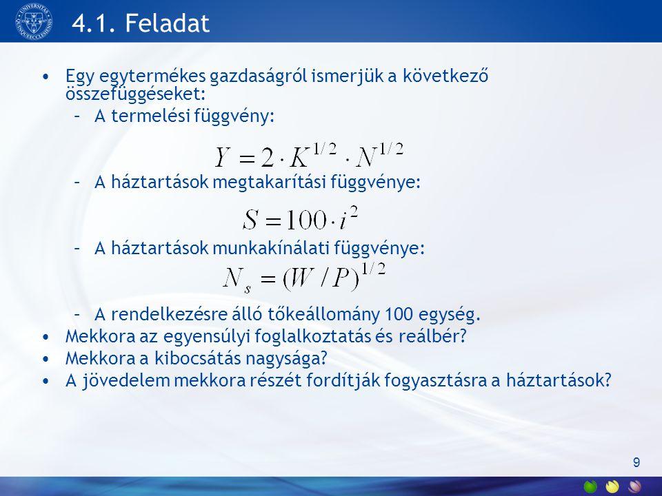 4.1. Feladat Egy egytermékes gazdaságról ismerjük a következő összefüggéseket: A termelési függvény: