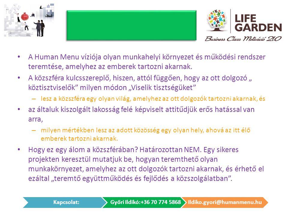 A Human Menu víziója olyan munkahelyi környezet és működési rendszer teremtése, amelyhez az emberek tartozni akarnak.