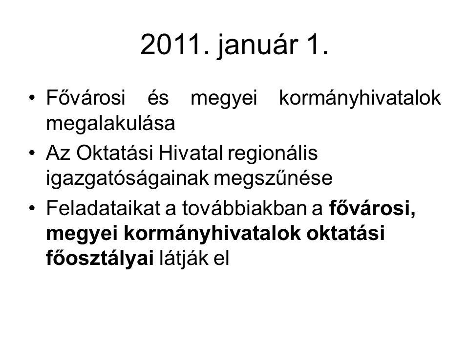 2011. január 1. Fővárosi és megyei kormányhivatalok megalakulása
