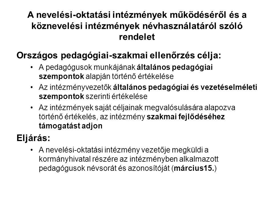 Országos pedagógiai-szakmai ellenőrzés célja: