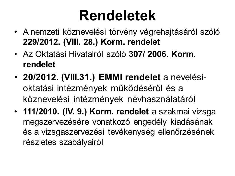 Rendeletek A nemzeti köznevelési törvény végrehajtásáról szóló 229/2012. (VIII. 28.) Korm. rendelet.