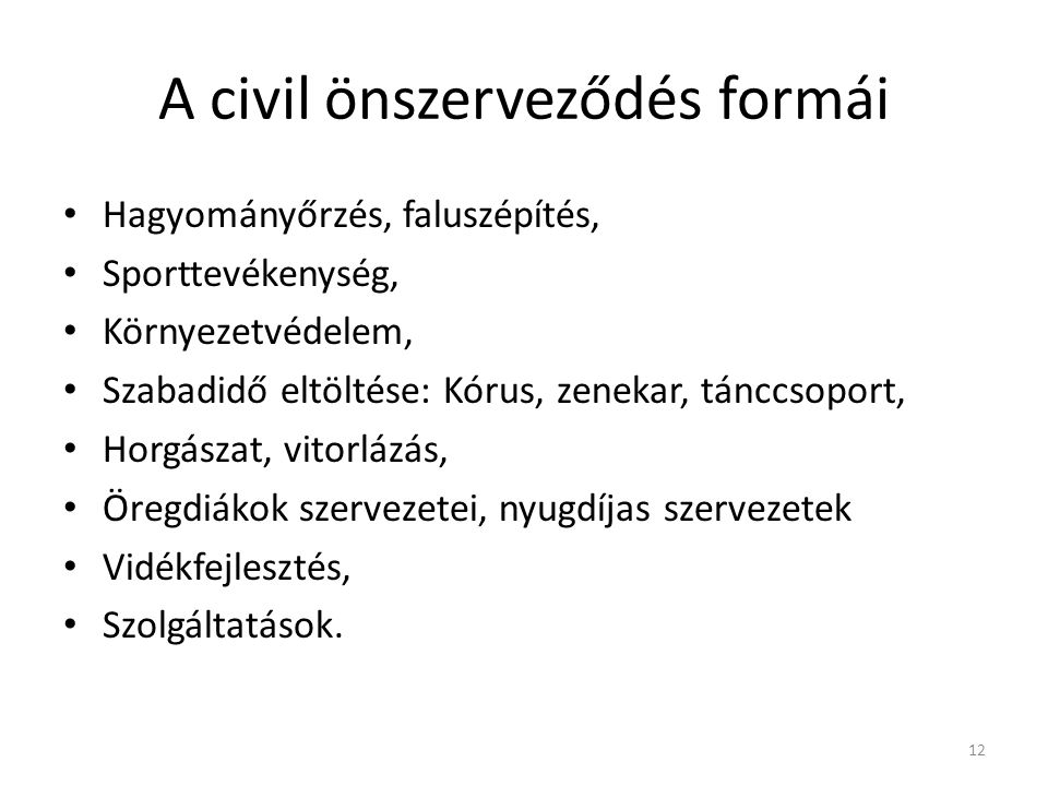 A civil önszerveződés formái