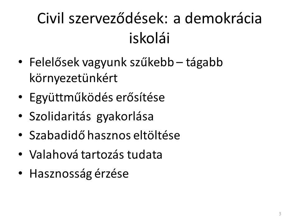 Civil szerveződések: a demokrácia iskolái