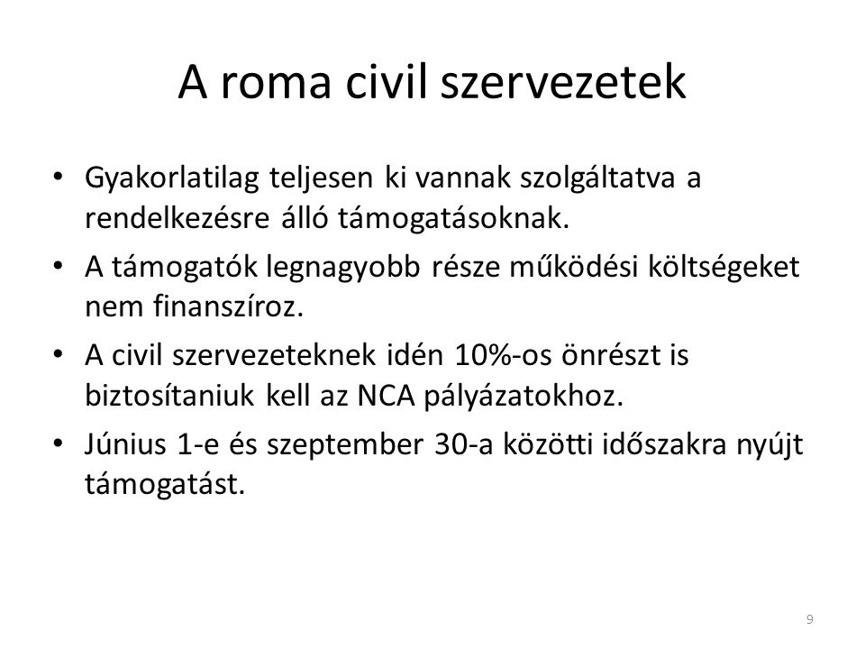 A roma civil szervezetek