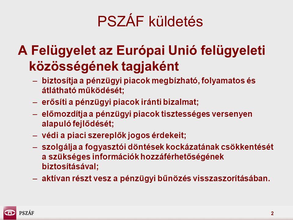 PSZÁF küldetés A Felügyelet az Európai Unió felügyeleti közösségének tagjaként.