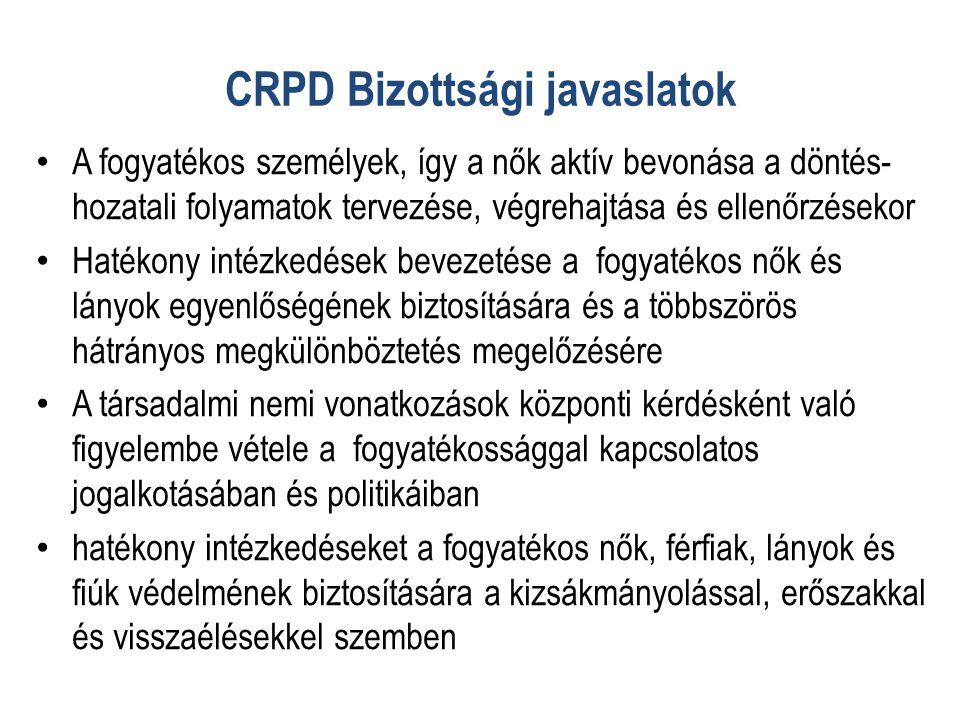 CRPD Bizottsági javaslatok