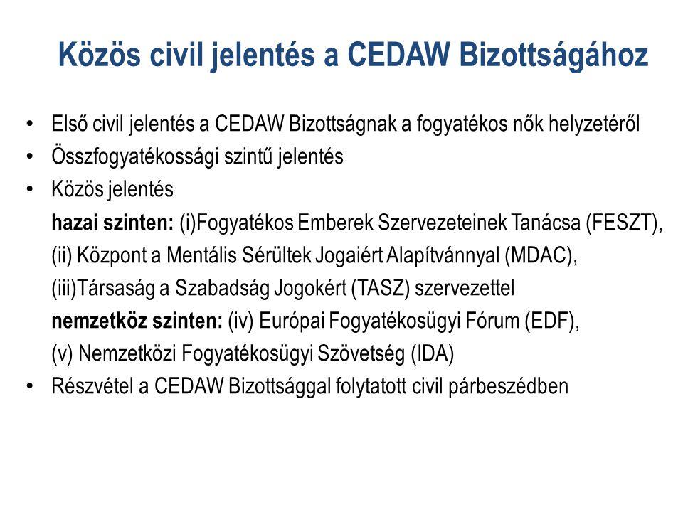 Közös civil jelentés a CEDAW Bizottságához
