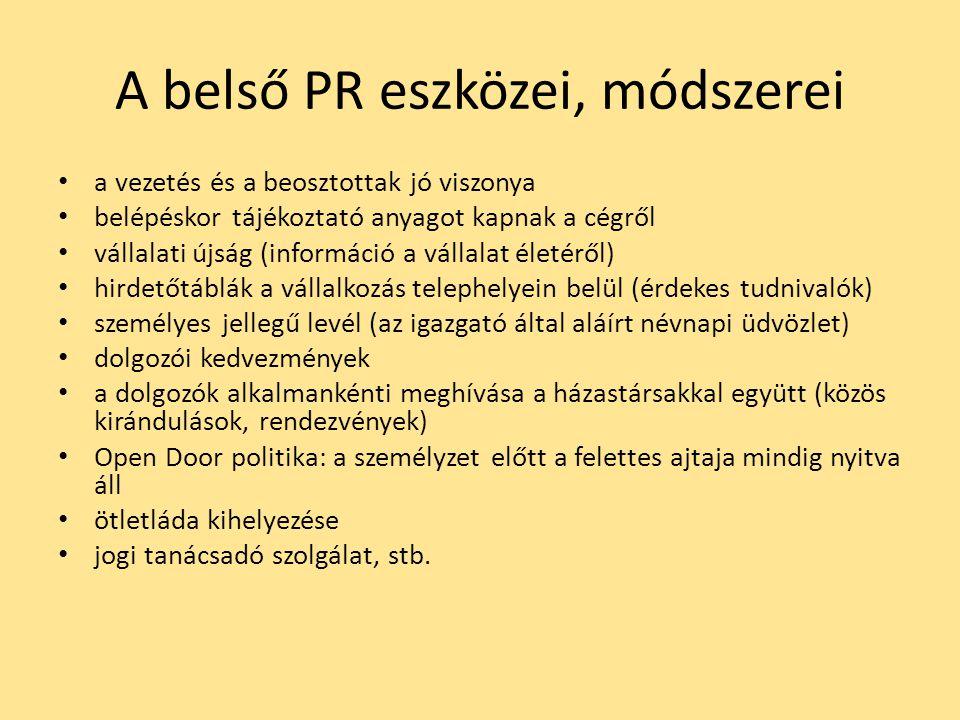 A belső PR eszközei, módszerei