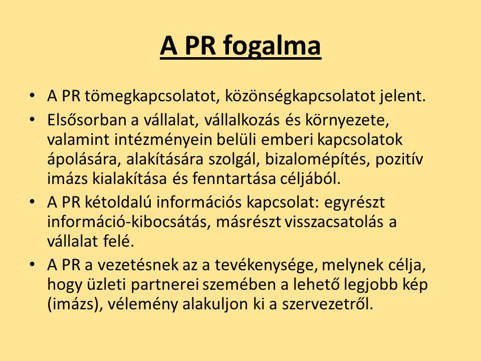 A PR fogalma A PR tömegkapcsolatot, közönségkapcsolatot jelent.