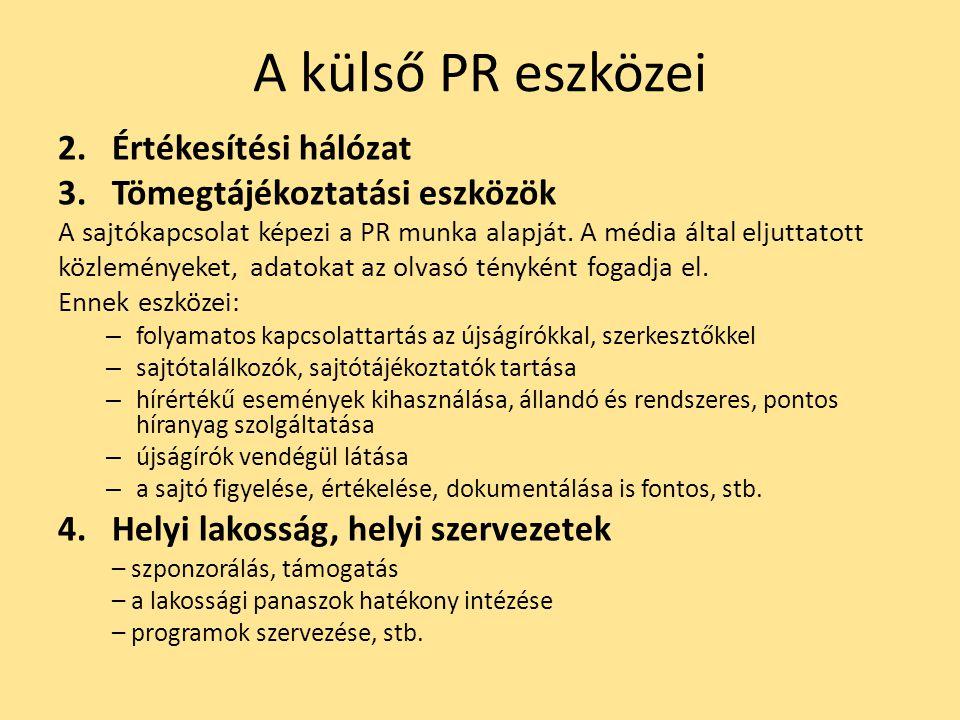 A külső PR eszközei Értékesítési hálózat Tömegtájékoztatási eszközök