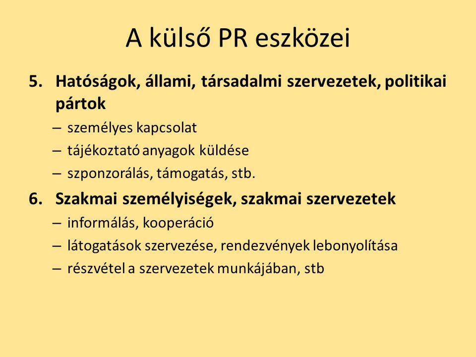 A külső PR eszközei Hatóságok, állami, társadalmi szervezetek, politikai pártok. személyes kapcsolat.