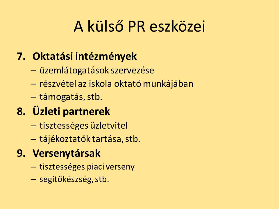 A külső PR eszközei Oktatási intézmények Üzleti partnerek