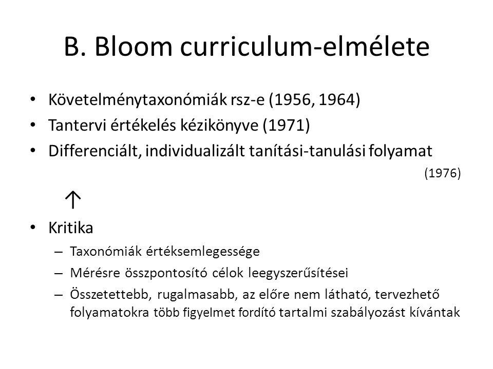 B. Bloom curriculum-elmélete