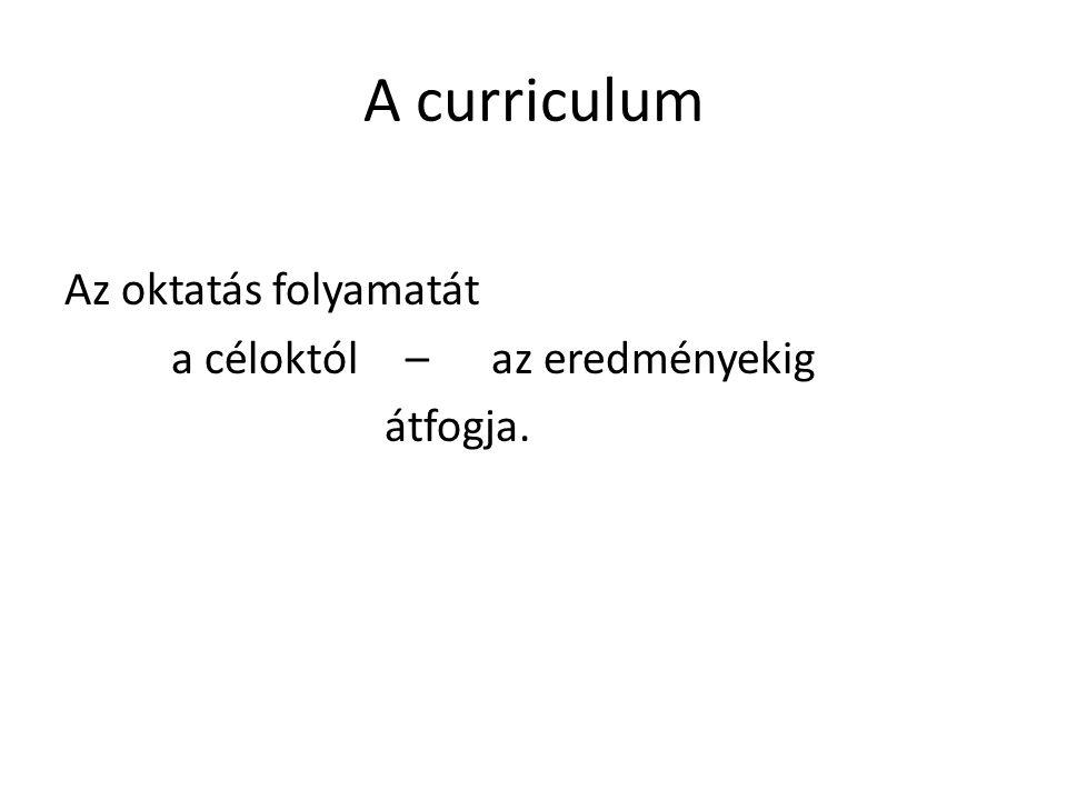 A curriculum Az oktatás folyamatát a céloktól – az eredményekig átfogja.