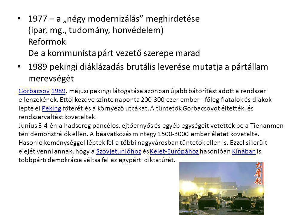"""1977 – a """"négy modernizálás meghirdetése (ipar, mg"""