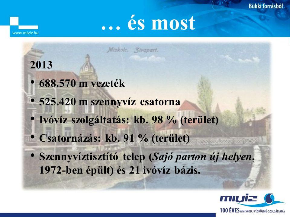 … és most 2013 688.570 m vezeték 525.420 m szennyvíz csatorna
