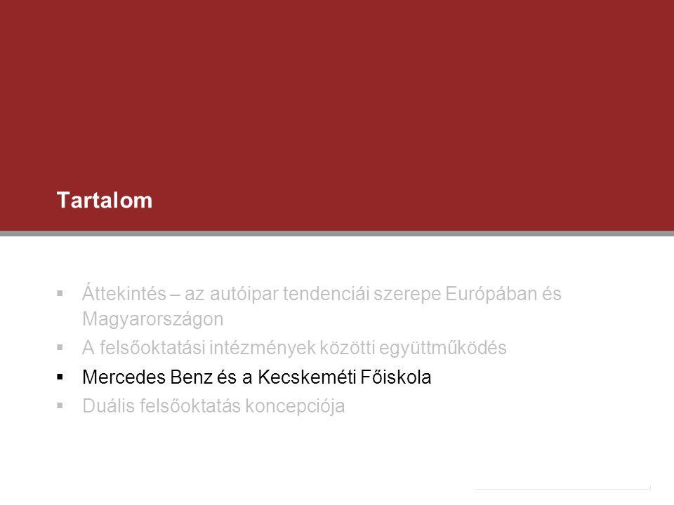Tartalom Áttekintés – az autóipar tendenciái szerepe Európában és Magyarországon. A felsőoktatási intézmények közötti együttműködés.