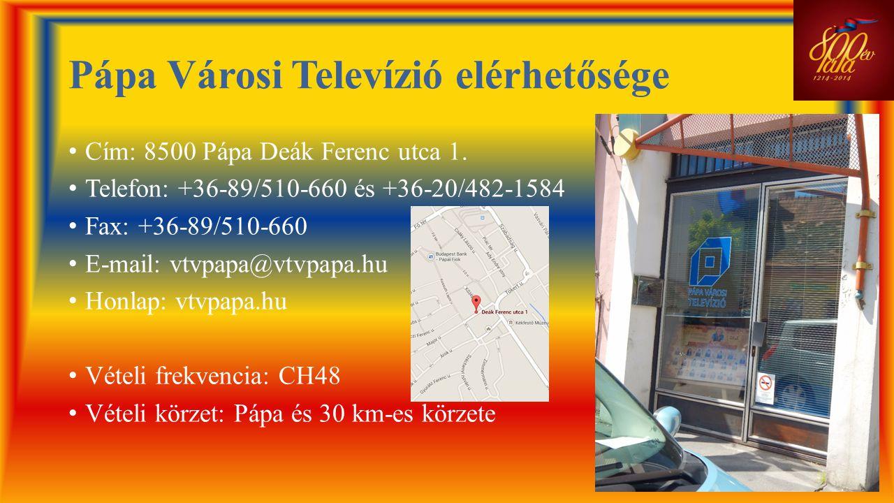 Pápa Városi Televízió elérhetősége