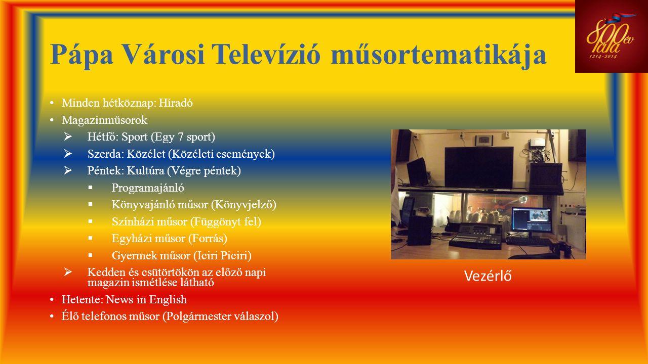 Pápa Városi Televízió műsortematikája