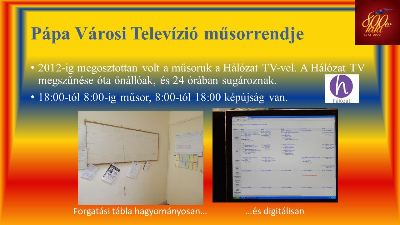 Pápa Városi Televízió műsorrendje