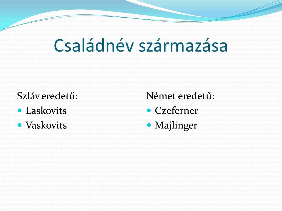 Családnév származása Szláv eredetű: Laskovits Vaskovits Német eredetű: