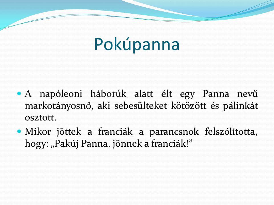 Pokúpanna A napóleoni háborúk alatt élt egy Panna nevű markotányosnő, aki sebesülteket kötözött és pálinkát osztott.
