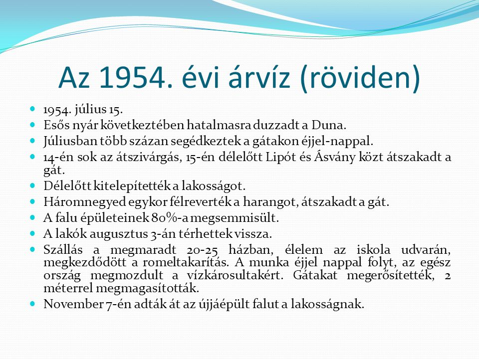 Az 1954. évi árvíz (röviden) 1954. július 15.