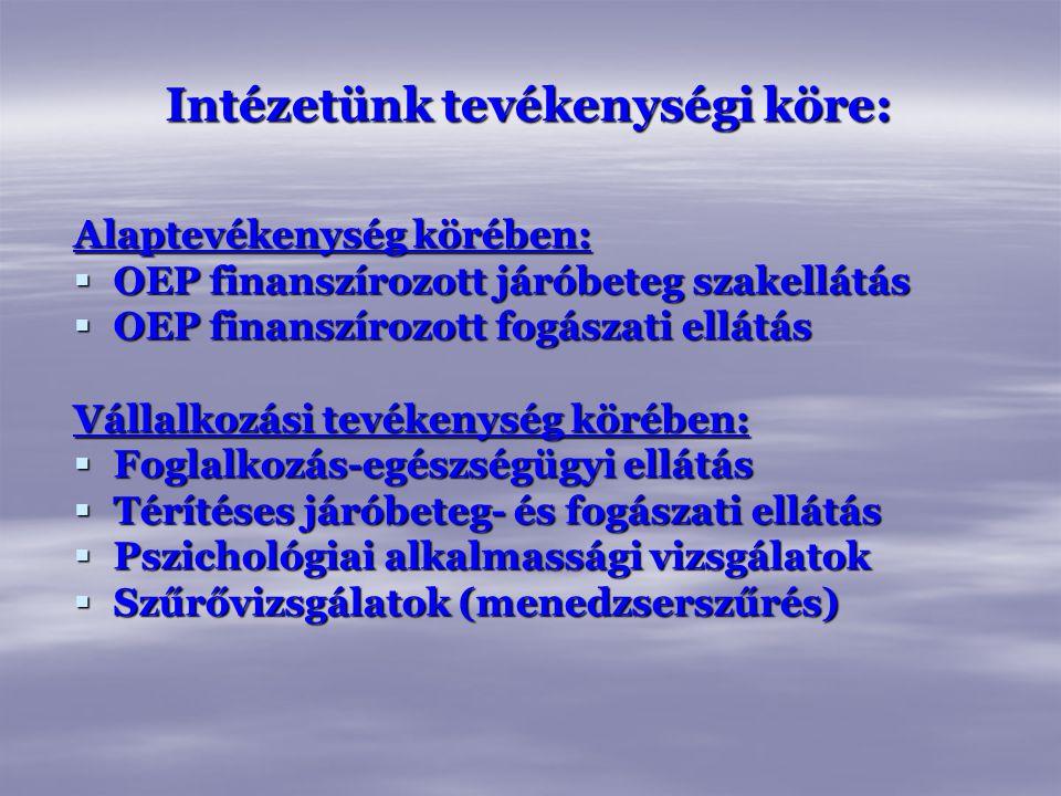 Intézetünk tevékenységi köre: