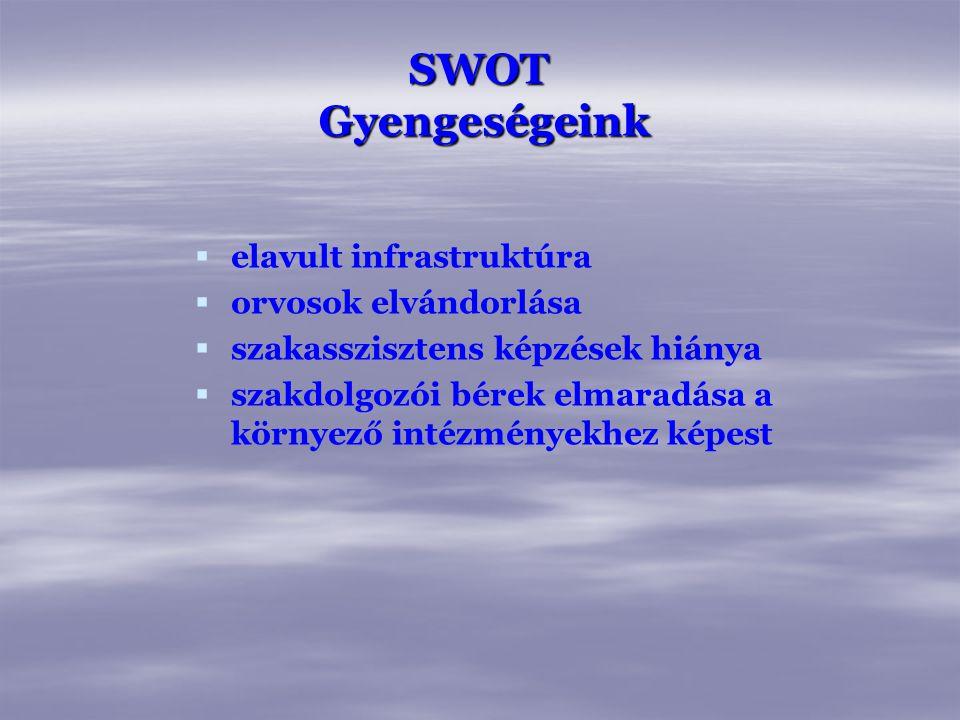 SWOT Gyengeségeink elavult infrastruktúra orvosok elvándorlása