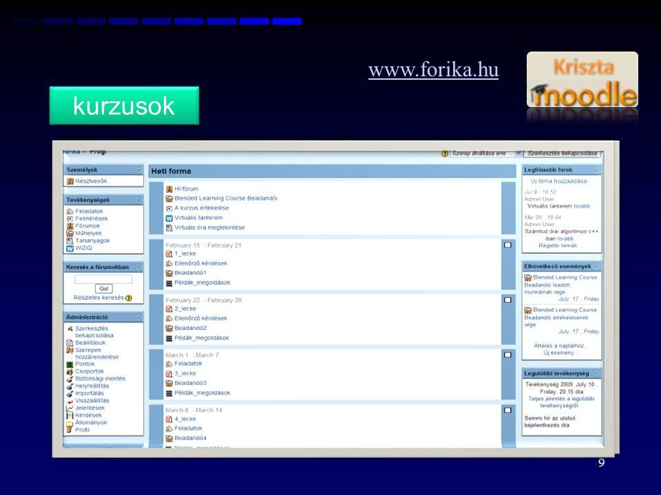 www.forika.hu kurzusok. A kurzusok létrehozását követően el kell döntenie minden oktatónak, hogy az adott kurzust.